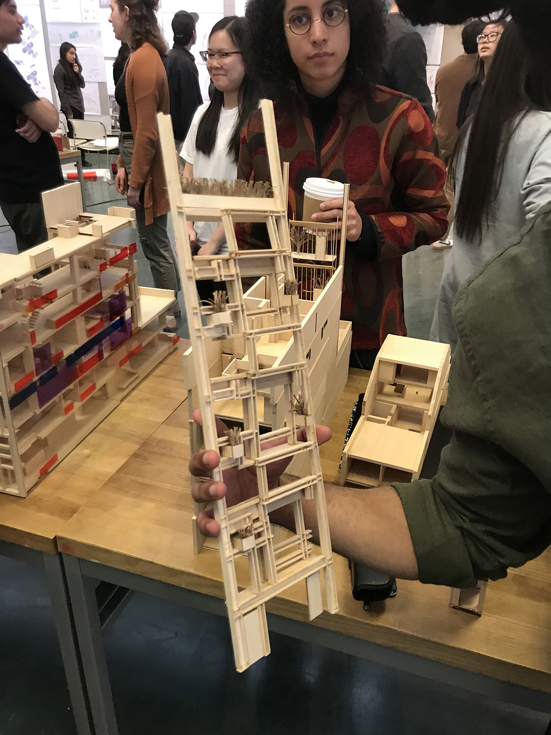 One team's model, used by them to analyze the building. In this example, the student team constructed the model so that the front façade could be removed. Photo: Kelvin Dickinson for the Paul Rudolph Heritage Foundation