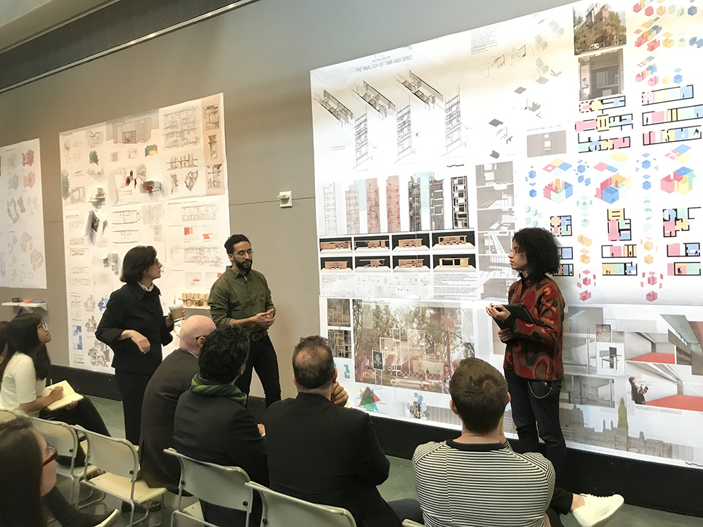 With drawings reaching way up the walls, that added to the drama of the graphic aspect of the student's presentations. Photo: Kelvin Dickinson for the Paul Rudolph Heritage Foundation