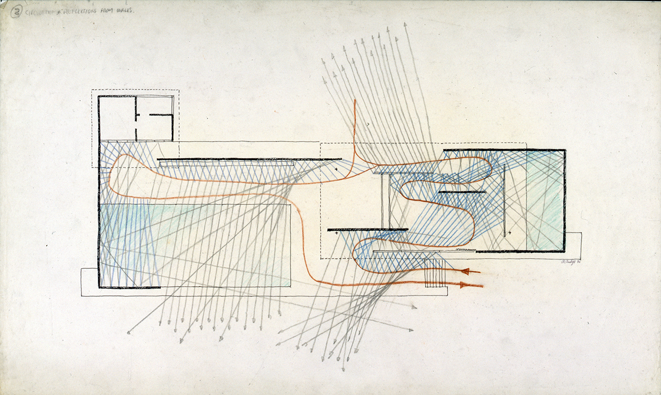 'Circulation & Reflection From Walls' - Paul Rudolph's graphic analysis of Mies's Barcelona Pavilion. Image from the Archives of the Paul Rudolph Heritage Foundation.