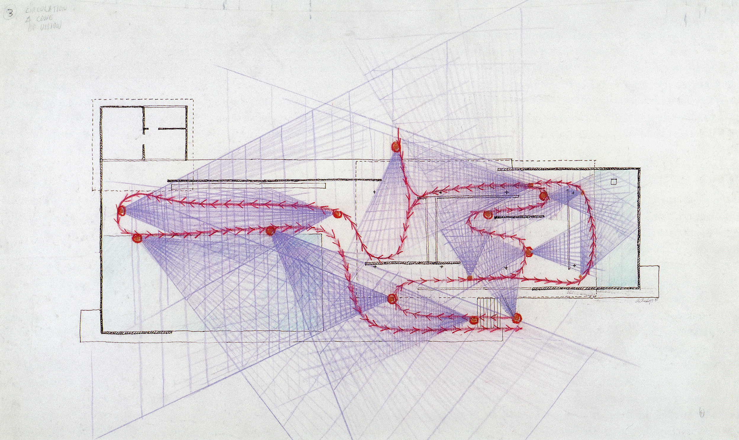 'Circulation & Cone Of Vision' - Paul Rudolph's graphic analysis of Mies's Barcelona Pavilion. Image from the Archives of the Paul Rudolph Heritage Foundation.