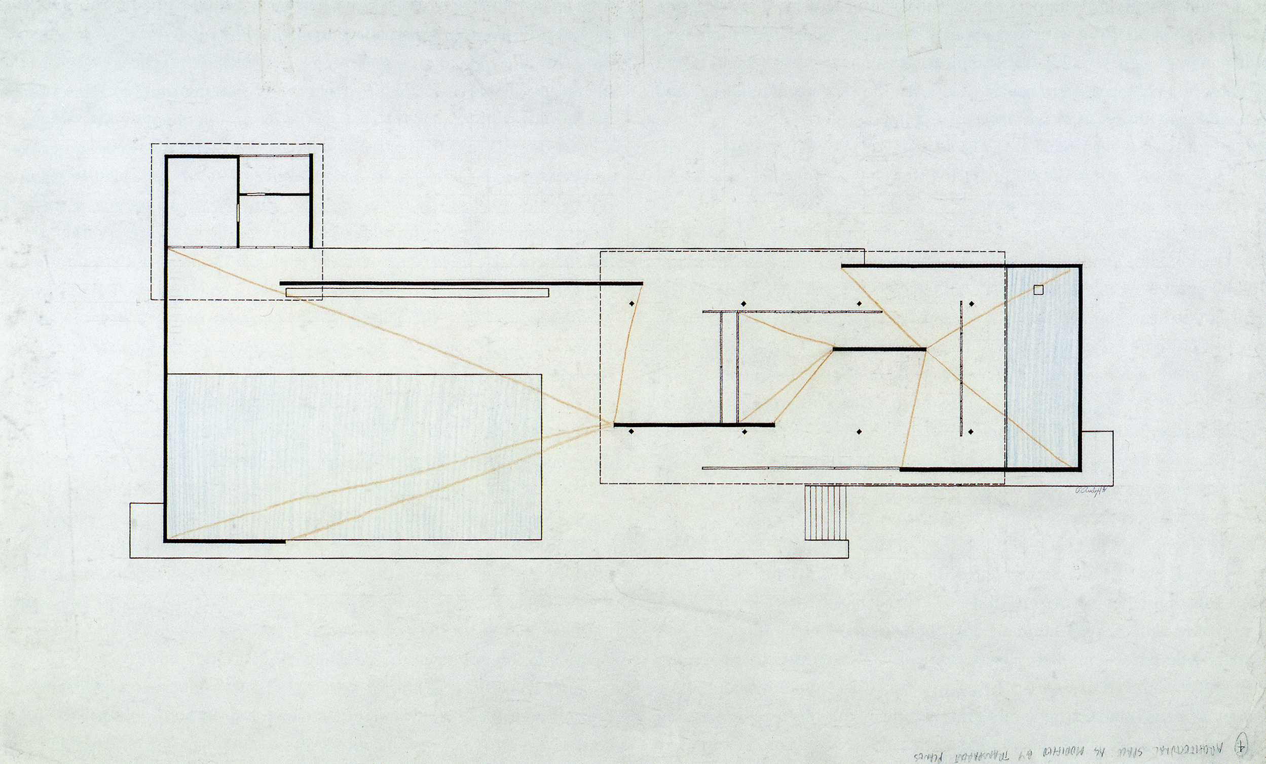 'Architectural Space As Modified By Transparent Planes' - Paul Rudolph's graphic analysis of Mies's Barcelona Pavilion. Image from the Archives of the Paul Rudolph Heritage Foundation.