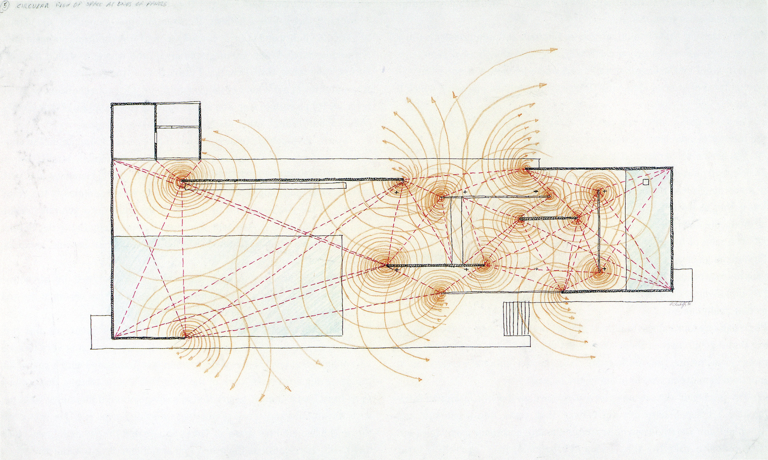 'Circular Flow Of Space At Ends Of Panels' - Paul Rudolph's graphic analysis of Mies's Barcelona Pavilion. Image from the Archives of the Paul Rudolph Heritage Foundation.