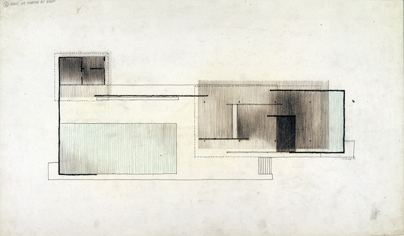 'Space As Modified By Light' - Paul Rudolph's graphic analysis of Mies's Barcelona Pavilion. Image from the Archives of the Paul Rudolph Heritage Foundation.