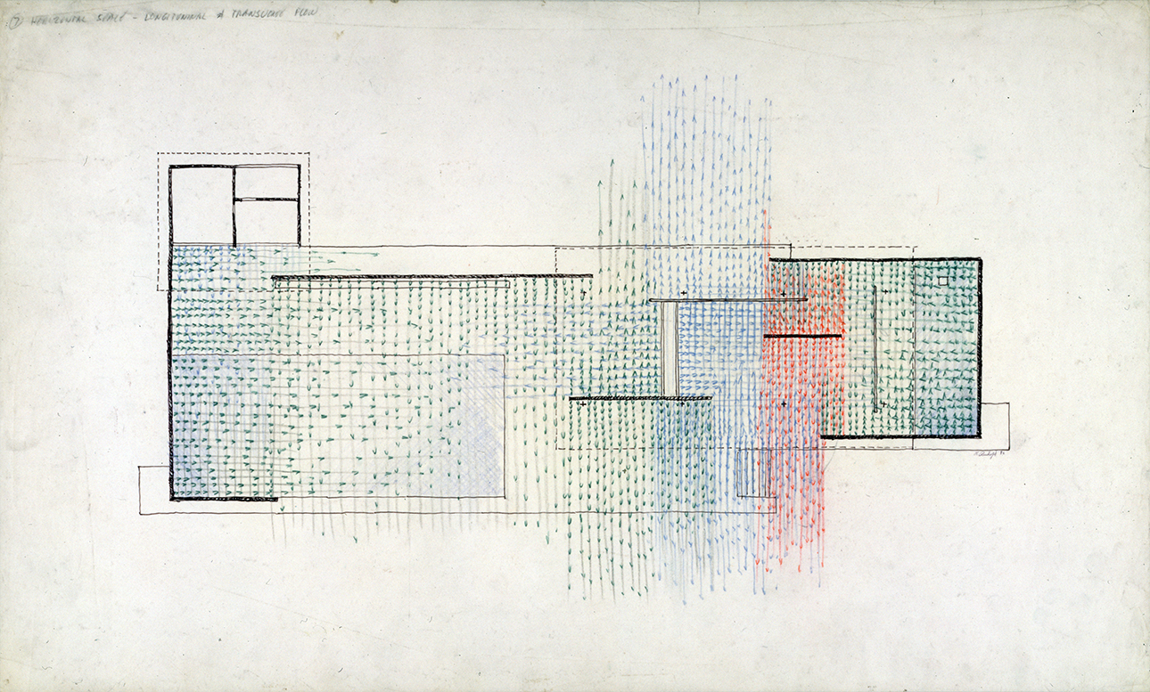 'Horizontal Space - Longitudinal And Transverse Flow' - Paul Rudolph's graphic analysis of Mies's Barcelona Pavilion. Image from the Archives of the Paul Rudolph Heritage Foundation.