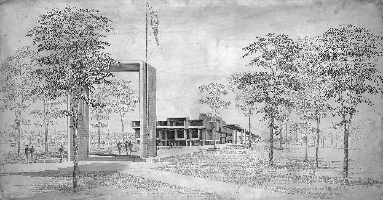 Orange County Government Center, Goshen, New York. Final scheme. Perspective looking north. Presentation rendering. 1963.