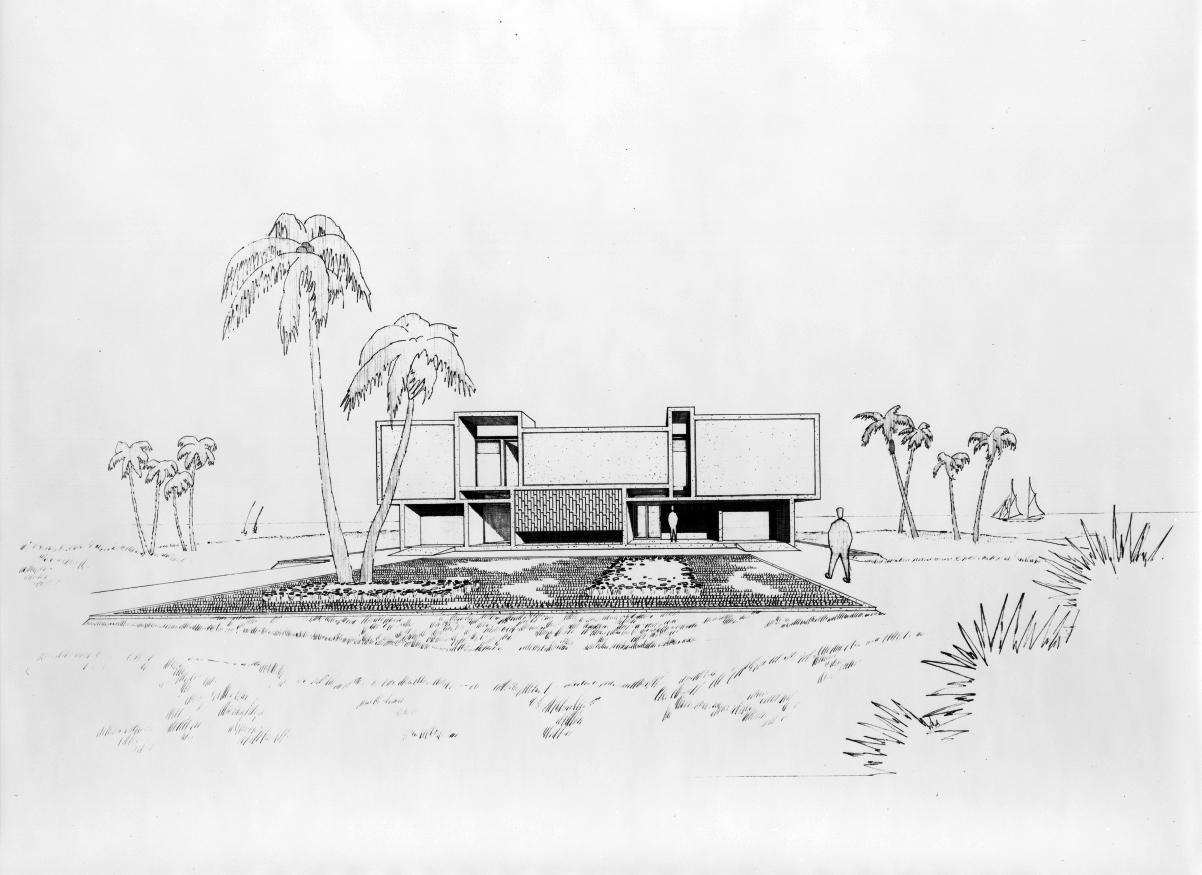 Milam residence, Ponte Vedra Beach, Florida. Entrance facade. Perspective rendering. 1959.