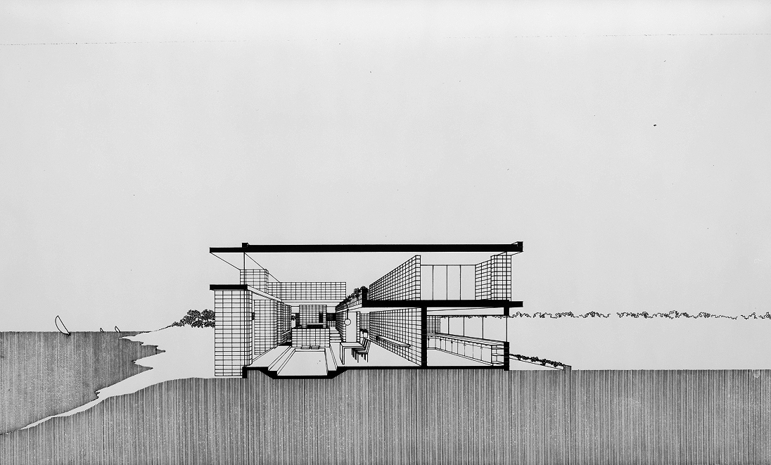 Milam residence, Ponte Vedra Beach, Florida. Section perspective. 1959.