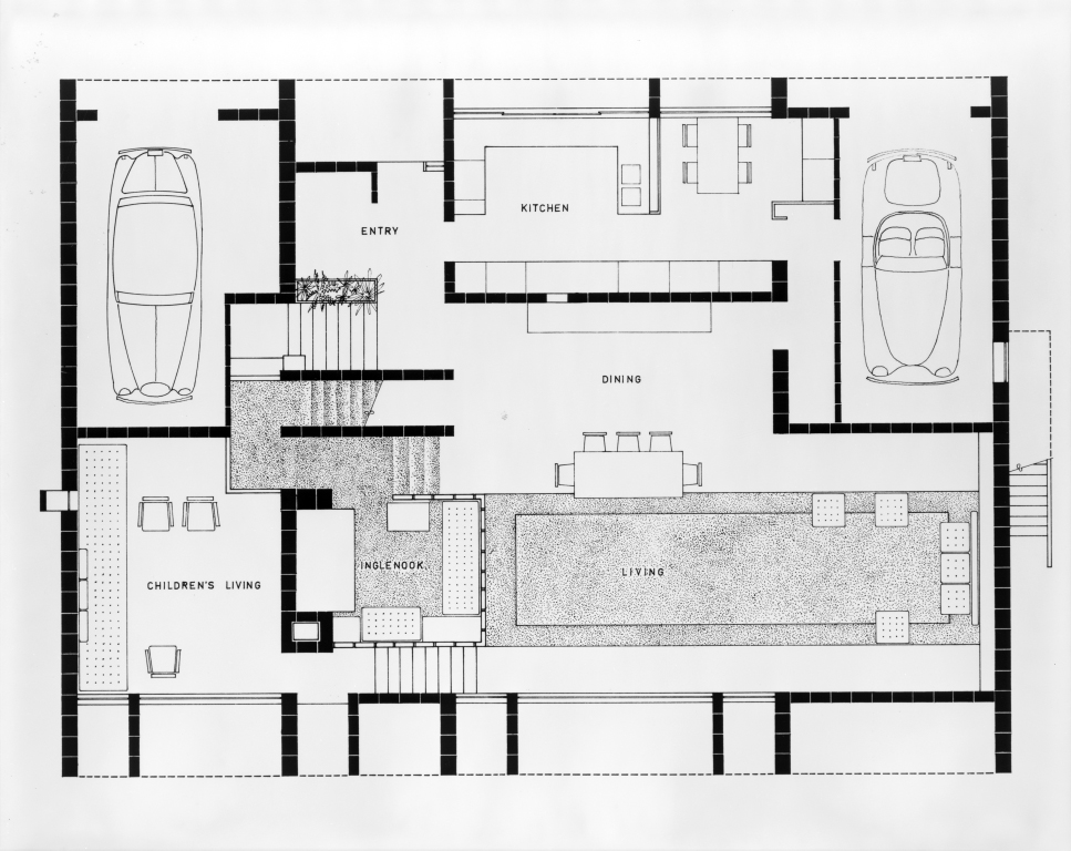 Milam residence, Ponte Vedra Beach, Florida. First floor plan. 1959.