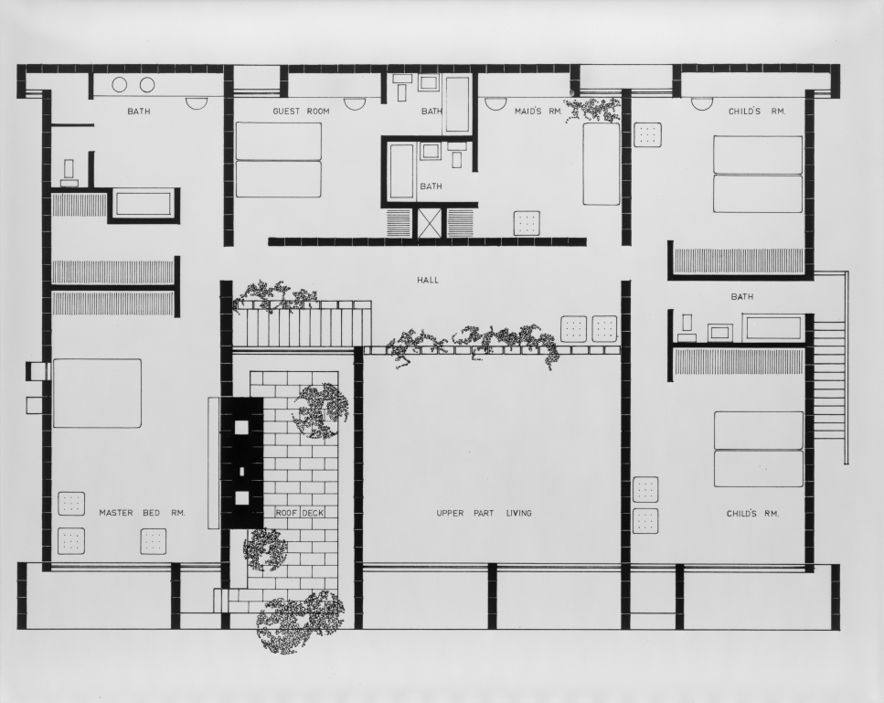 Milam residence, Ponte Vedra Beach, Florida. Second floor plan. 1959.