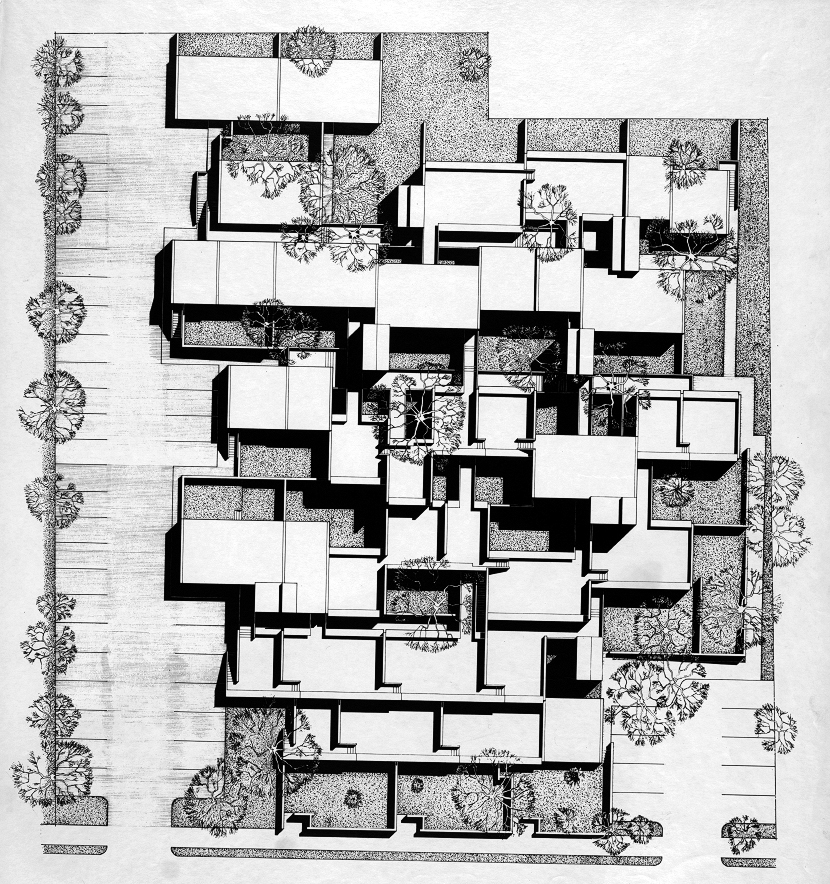 Married Students Housing, Yale University, New Haven, Connecticut. Perspective plan of housing complex. 1960.