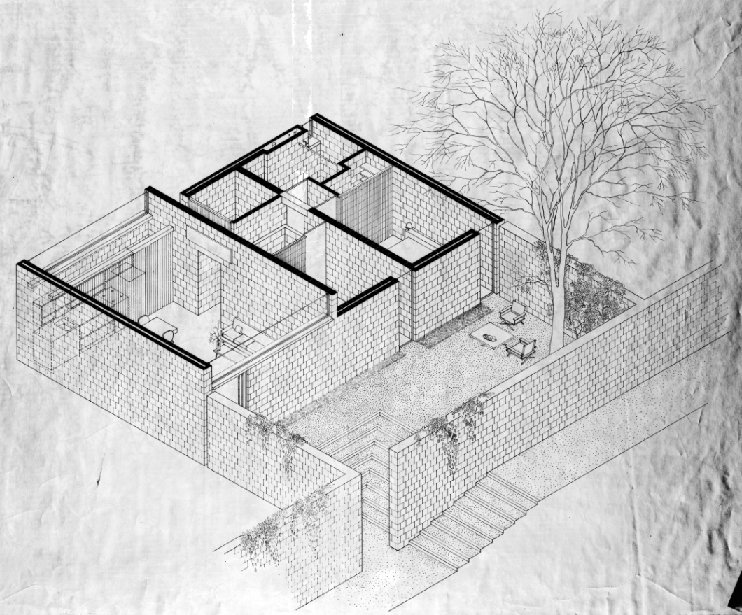 Married Students Housing, Yale University, New Haven, Connecticut. Two bedroom unit. Perspective rendering, roof removed. 1960.
