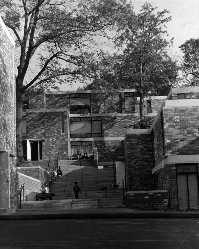 Married Students Housing, Yale University, New Haven, Connecticut. Exterior. Photograph showing children playing on steps. Photo taken in 1961.