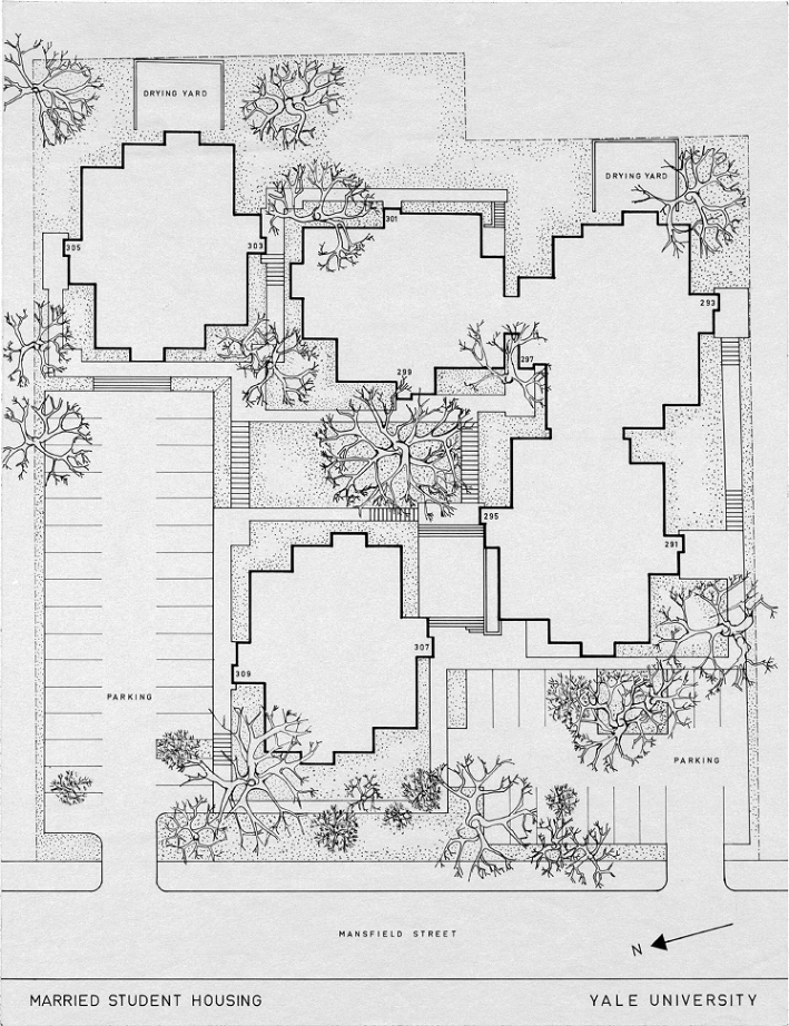 Married Students Housing, Yale University, New Haven, Connecticut. Plot plan. 1960.
