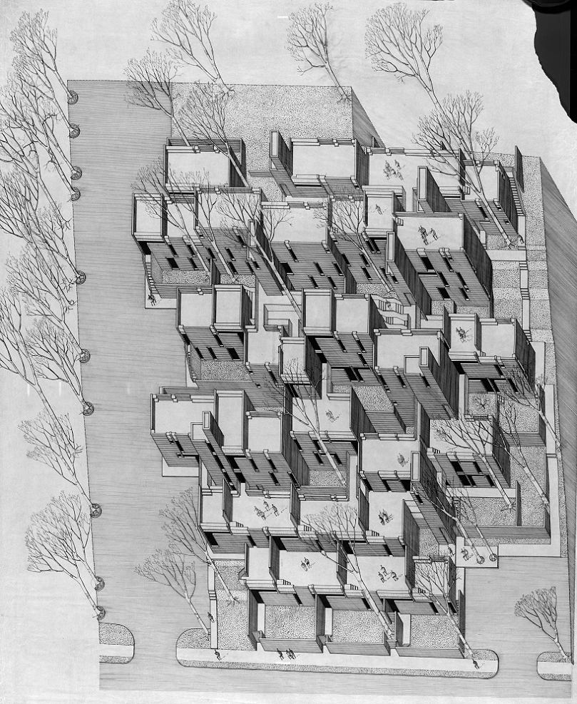 Married Students Housing, Yale University, New Haven, Connecticut. Isometric Rendering of First Scheme.  1960.