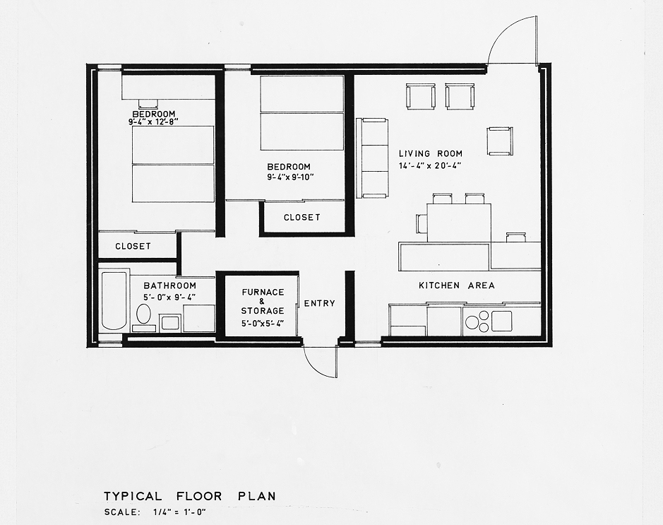 Married Students Housing, Yale University, New Haven, Connecticut. Two bedroom unit. Typical floor plan of First Scheme. 1960.