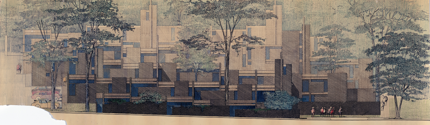 Married student housing, Yale University, New Haven, Connecticut. Colored Site Elevation of First Scheme. 1960 or 1961.