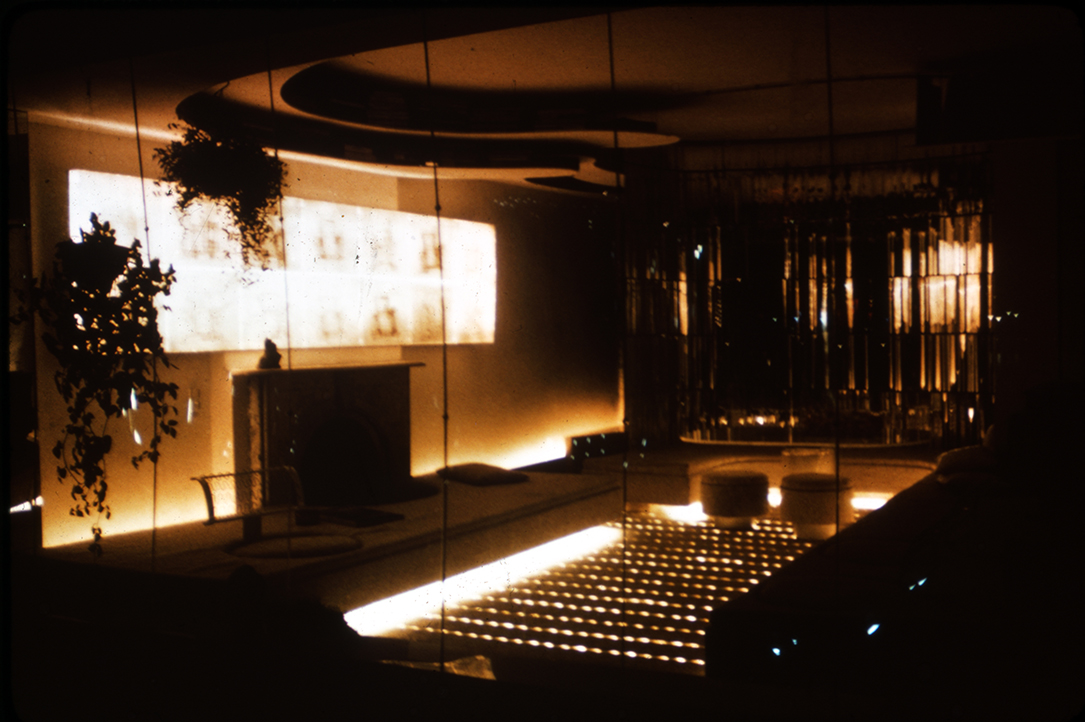 Paul Rudolph Residence at 23 Beekman, New York City.  Photo taken at night in 1976 of the apartment when it was a single floor.