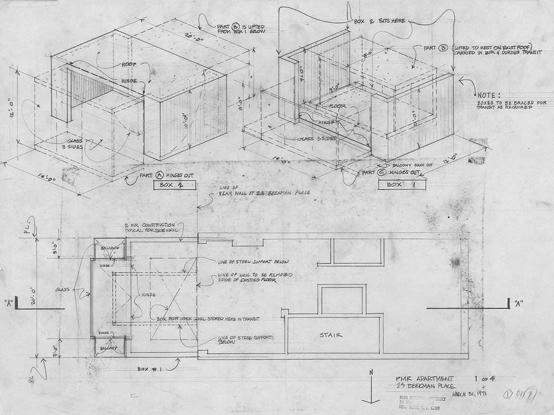 Paul Rudolph Residence at 23 Beekman Place, New York City. Drawing for elements to be constructed and installed atop 23 Beekman Place, New York City. Drawing dated March 31, 1971