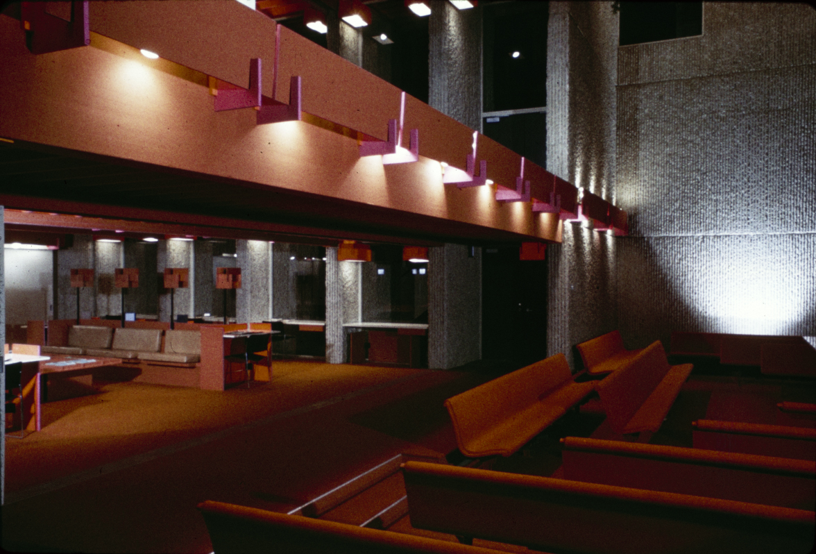Christian Science Student Center, University of Illinois, Urbana, Illinois. Interior at night.  Photo taken about 1966.