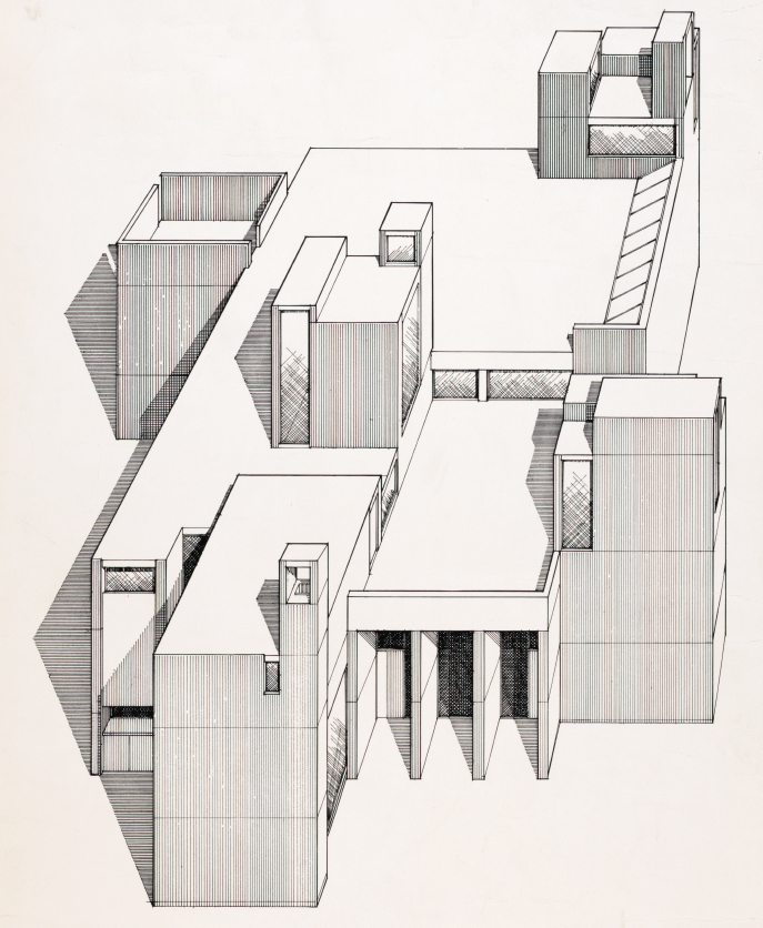 Christian Science Building, University of Illinois, Urbana, Illinois. Axonometric Rendering.
