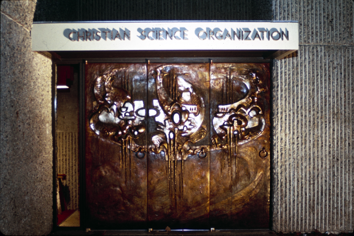 Christian Science Student Center, University of Illinois, Urbana, Illinois. Photograph of the entrance doors taken in 1966.