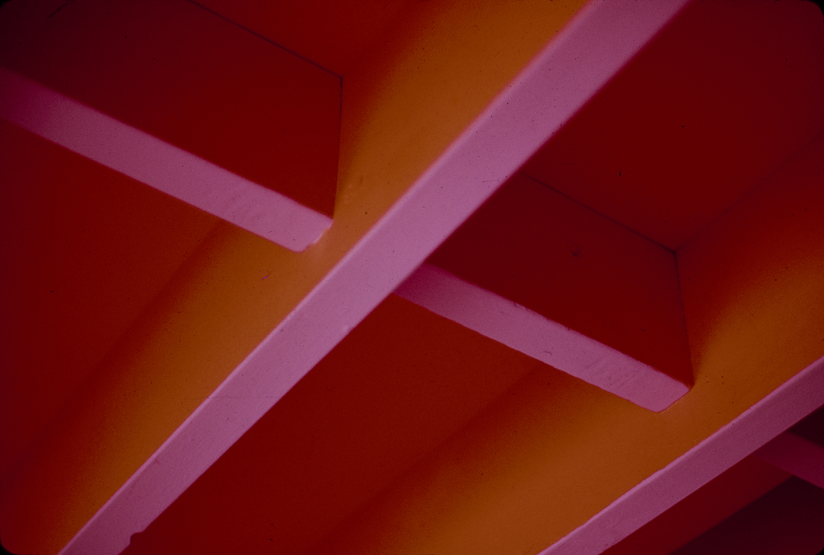 Christian Science Student Center, University of Illinois, Urbana, Illinois. Interior Photograph showing paint treatment of ceiling structure.