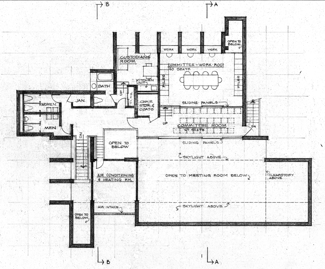 Christian Science Student Center, University of Illinois, Urbana, Illinois. Second floor plan.