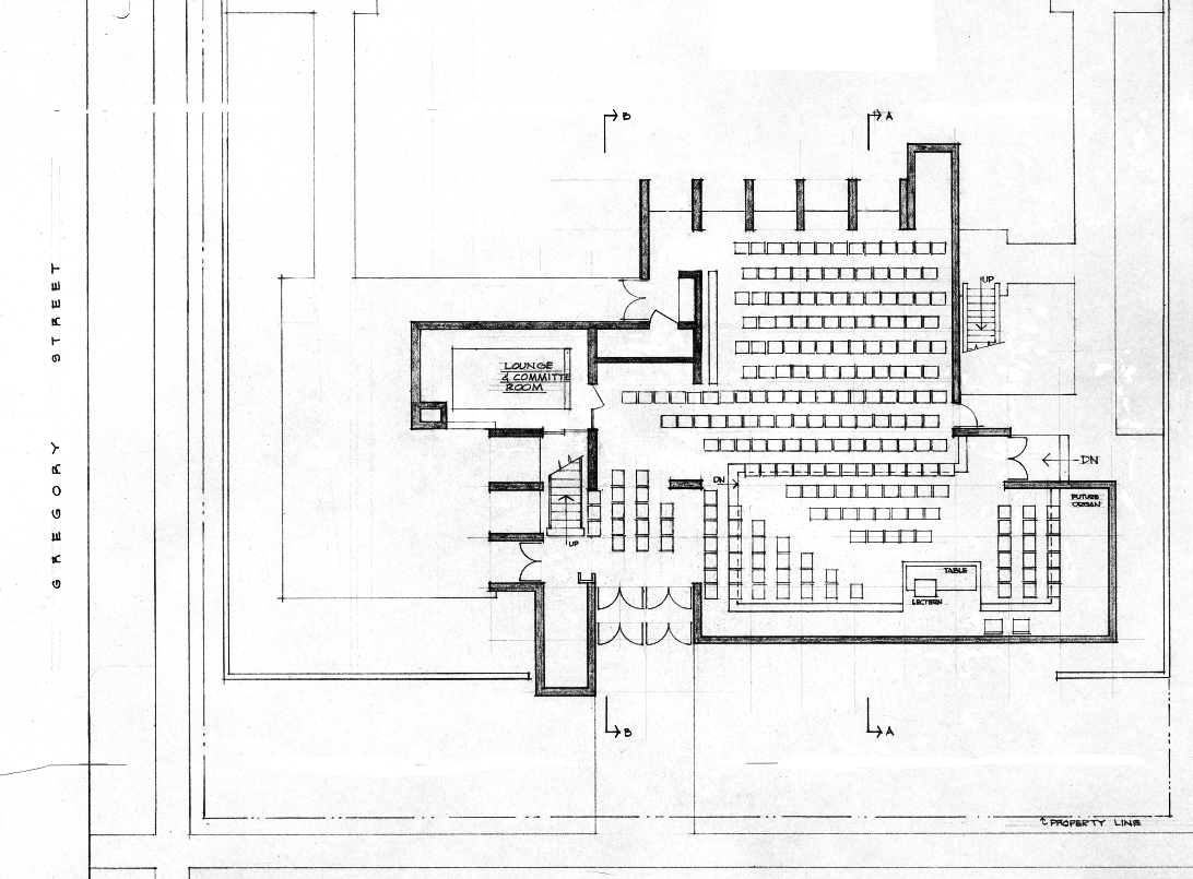 Christian Science Student Center, University of Illinois, Urbana, Illinois. First floor plan.