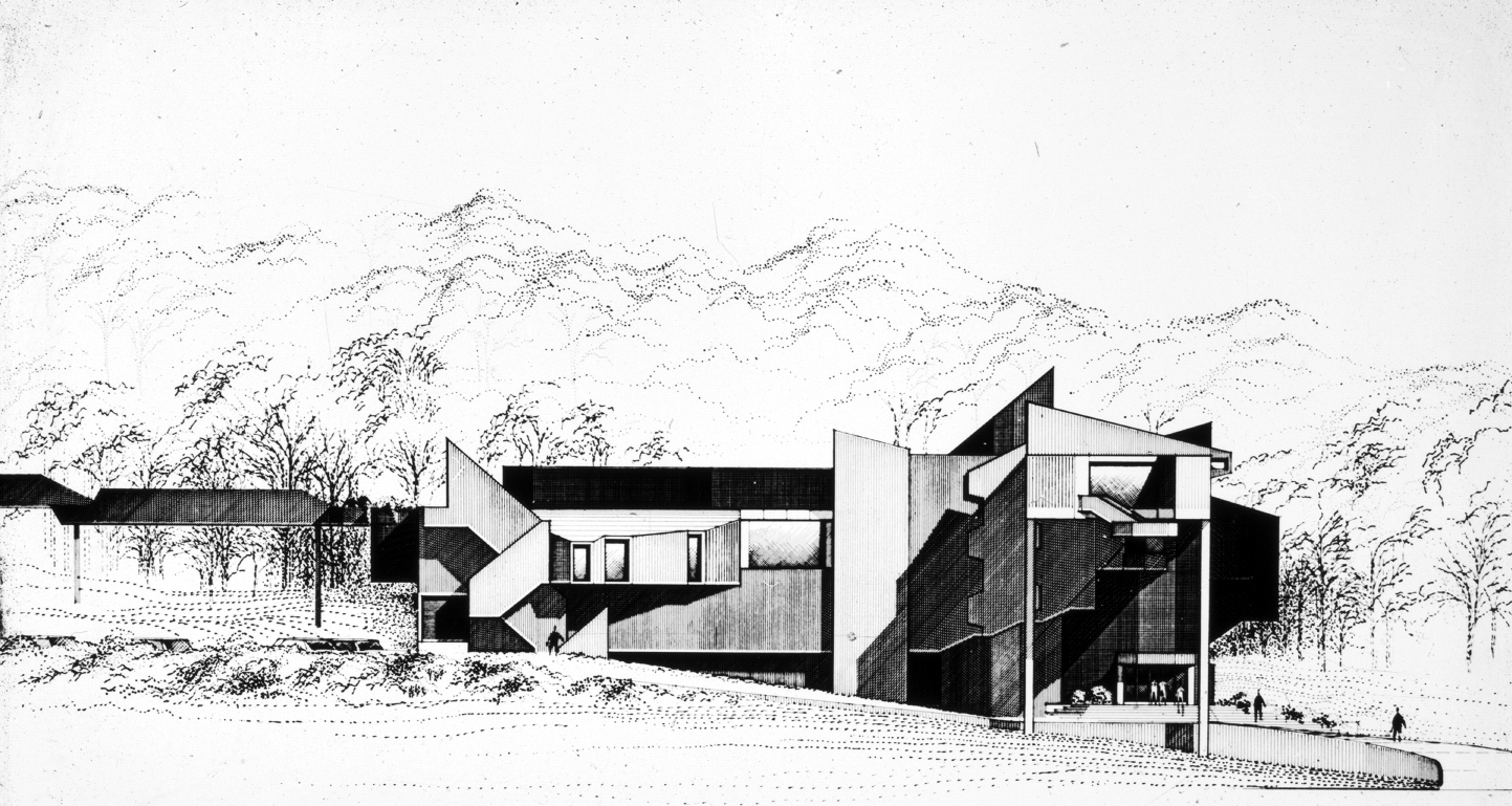 Creative Arts Center (Dana Arts Center), Colgate University, Hamilton, New York. Perspective Rendering. 1964.