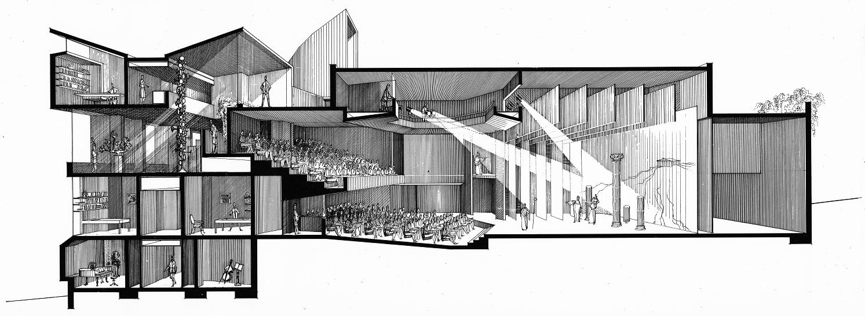 Creative Arts Center (Dana Arts Center), Colgate University, Hamilton, New York. Perspective Section Rendering. 1964.