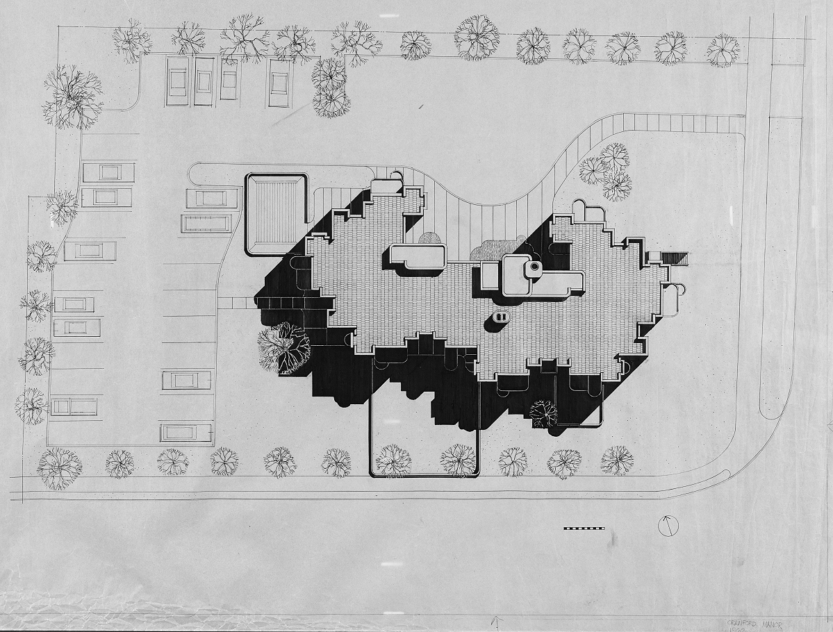 Crawford Manor, New Haven, Connecticut.  Rendered Site Plan. 1962.