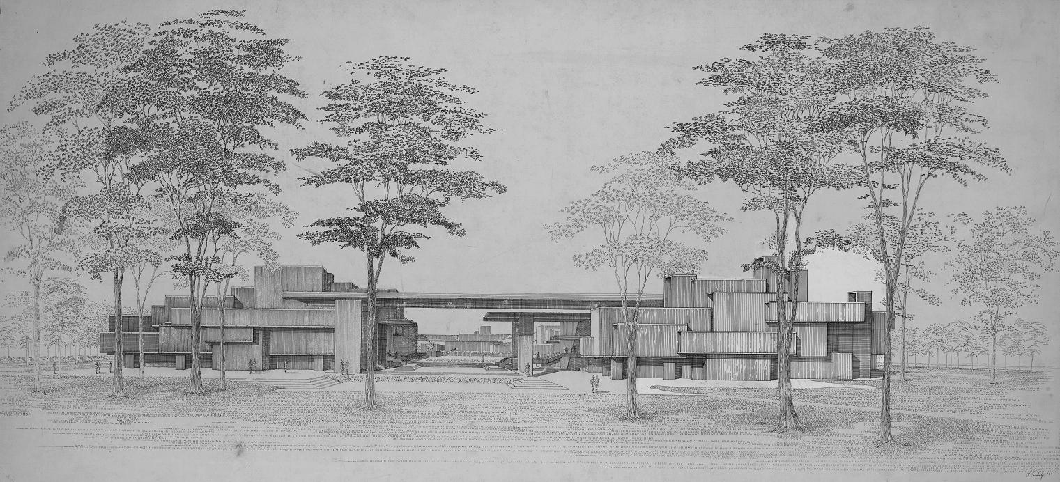 Orange County Government Center, Goshen, New York. Final scheme. Presentation Perspective Rendering Looking West. 1963.
