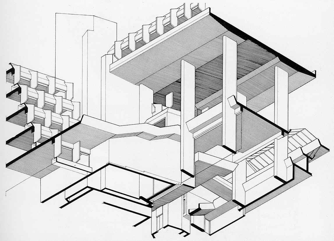 Syracuse City Hall, Syracuse, New York.  Axonometric Study.