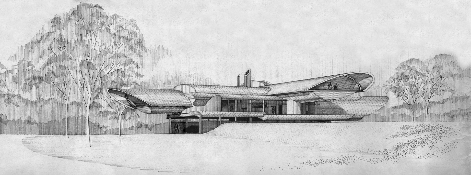 Dr. and Mrs. John M. Shuey Residence, Bloomfield Hills, Michigan.   Perspective Rendering of Building Exterior.