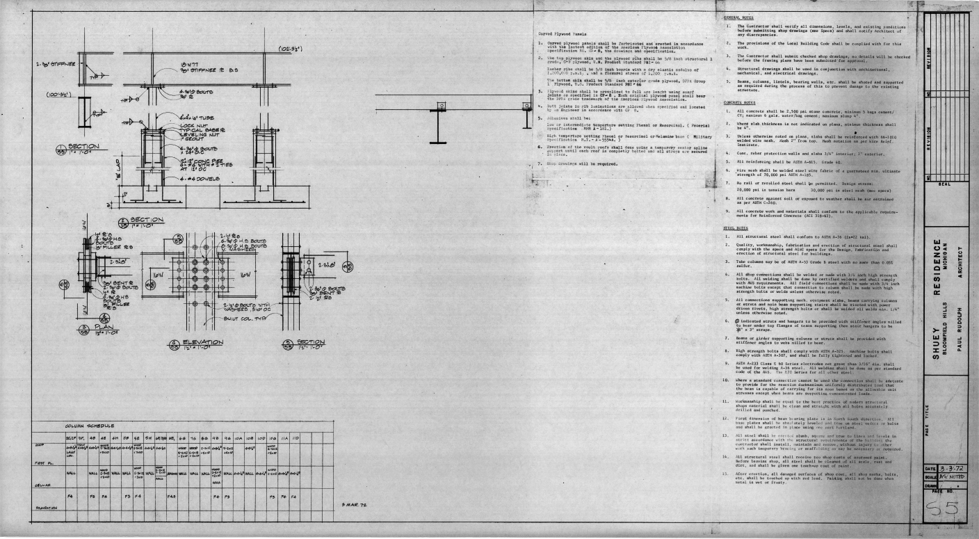 Dr. and Mrs. John M. Shuey Residence, Bloomfield Hills, Michigan.  Framing Details, Column Schedule and Structural Notes, Sheet S-5.