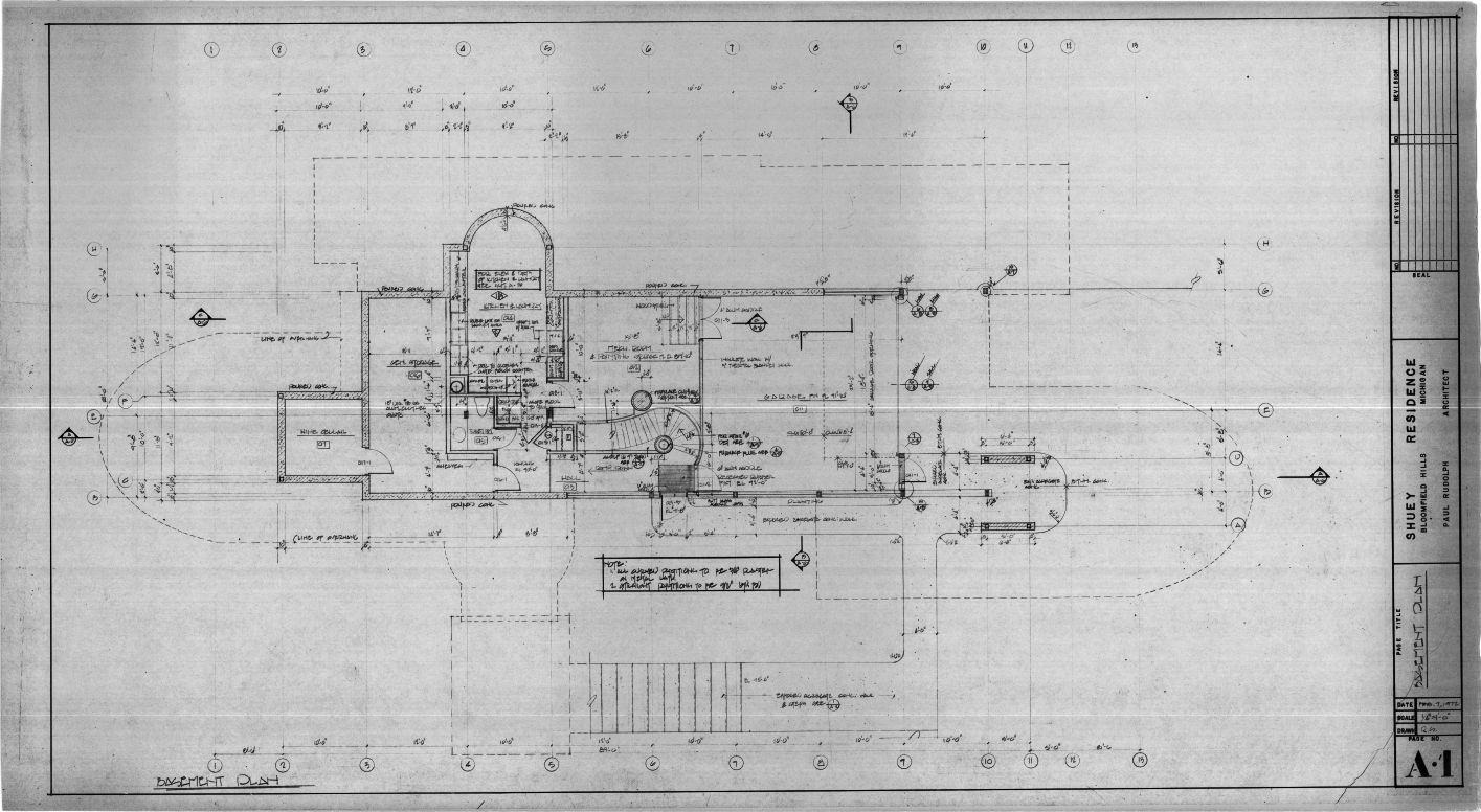Dr. and Mrs. John M. Shuey Residence, Bloomfield Hills, Michigan.  Basement Plan, Sheet A-1.