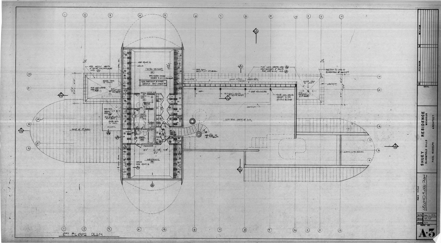 Dr. and Mrs. John M. Shuey Residence, Bloomfield Hills, Michigan.  Second Floor Plan, Sheet A-3.