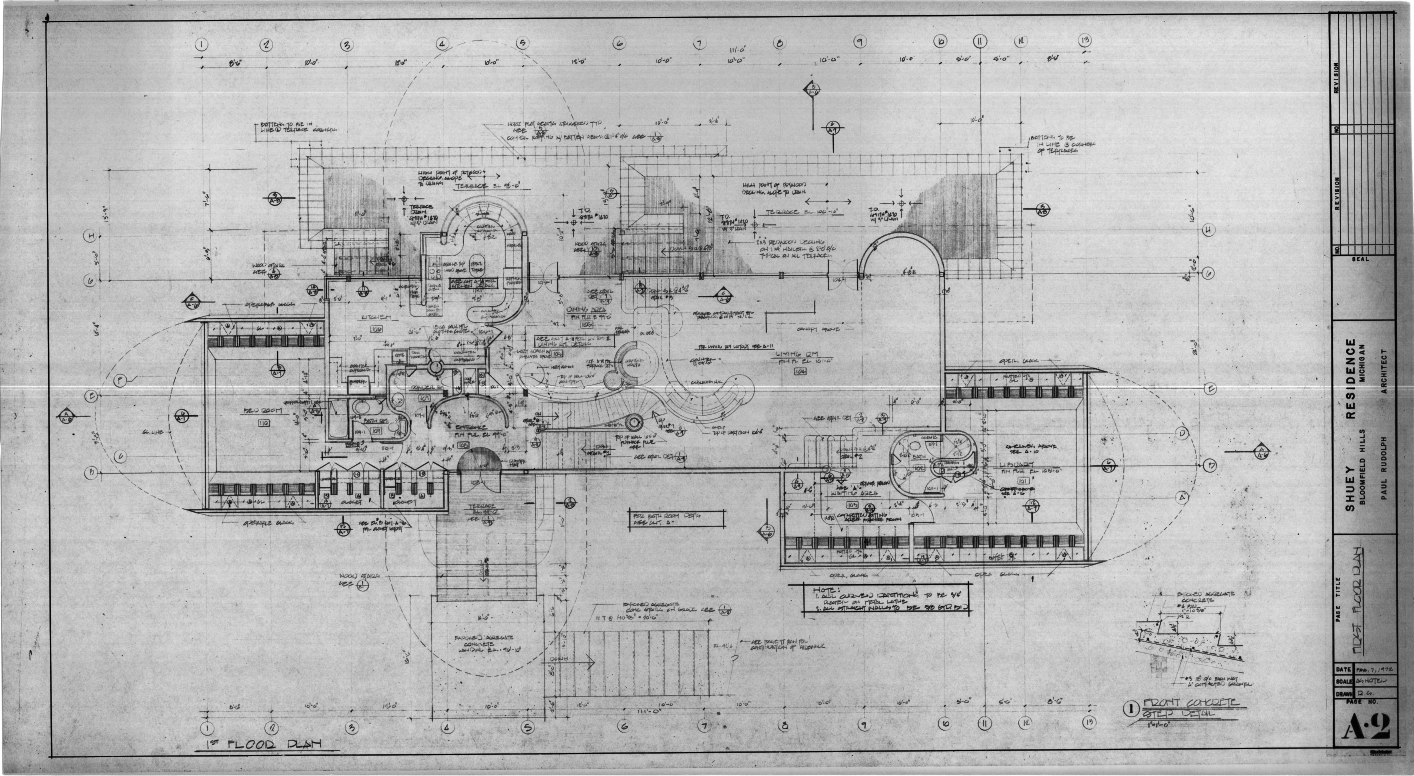 Dr. and Mrs. John M. Shuey Residence, Bloomfield Hills, Michigan.  First Floor Plan, Sheet A-2.