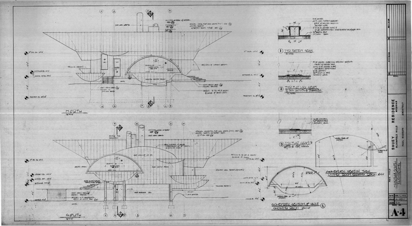 Dr. and Mrs. John M. Shuey Residence, Bloomfield Hills, Michigan.  North and South Elevations, Sheet A-4.