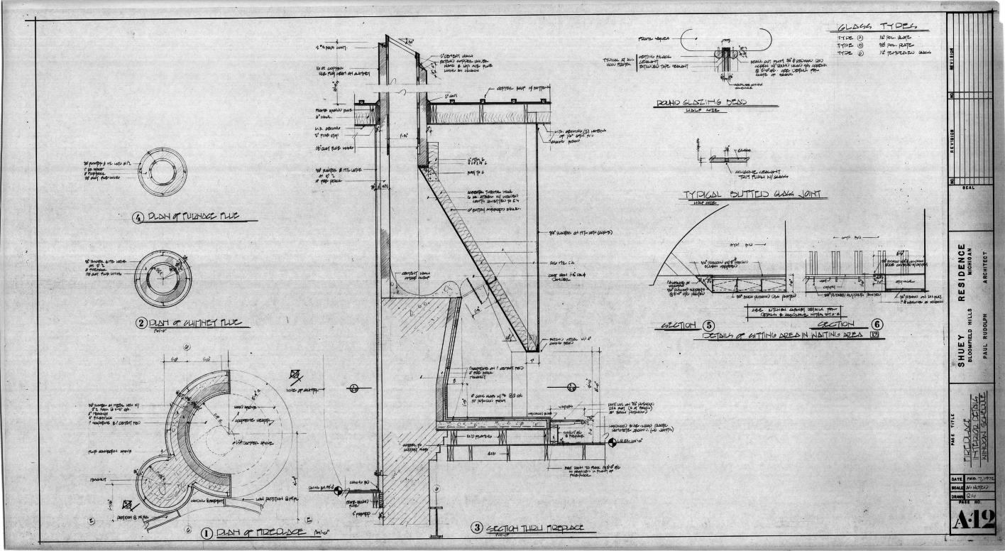 Dr. and Mrs. John M. Shuey Residence, Bloomfield Hills, Michigan.  Fireplace Interior Details and Window Schedule, Sheet A-12.
