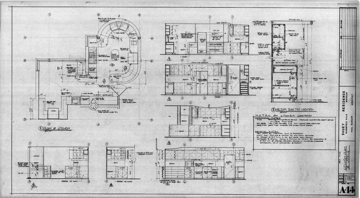 Dr. and Mrs. John M. Shuey Residence, Bloomfield Hills, Michigan.  Kitchen Plan and Details, Sheet A-14.