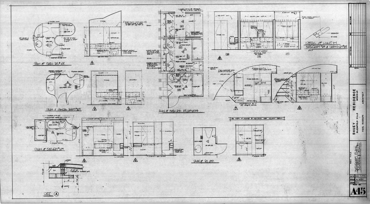 Dr. and Mrs. John M. Shuey Residence, Bloomfield Hills, Michigan.  Bathroom Plans, Elevations and Details, Sheet A-15.