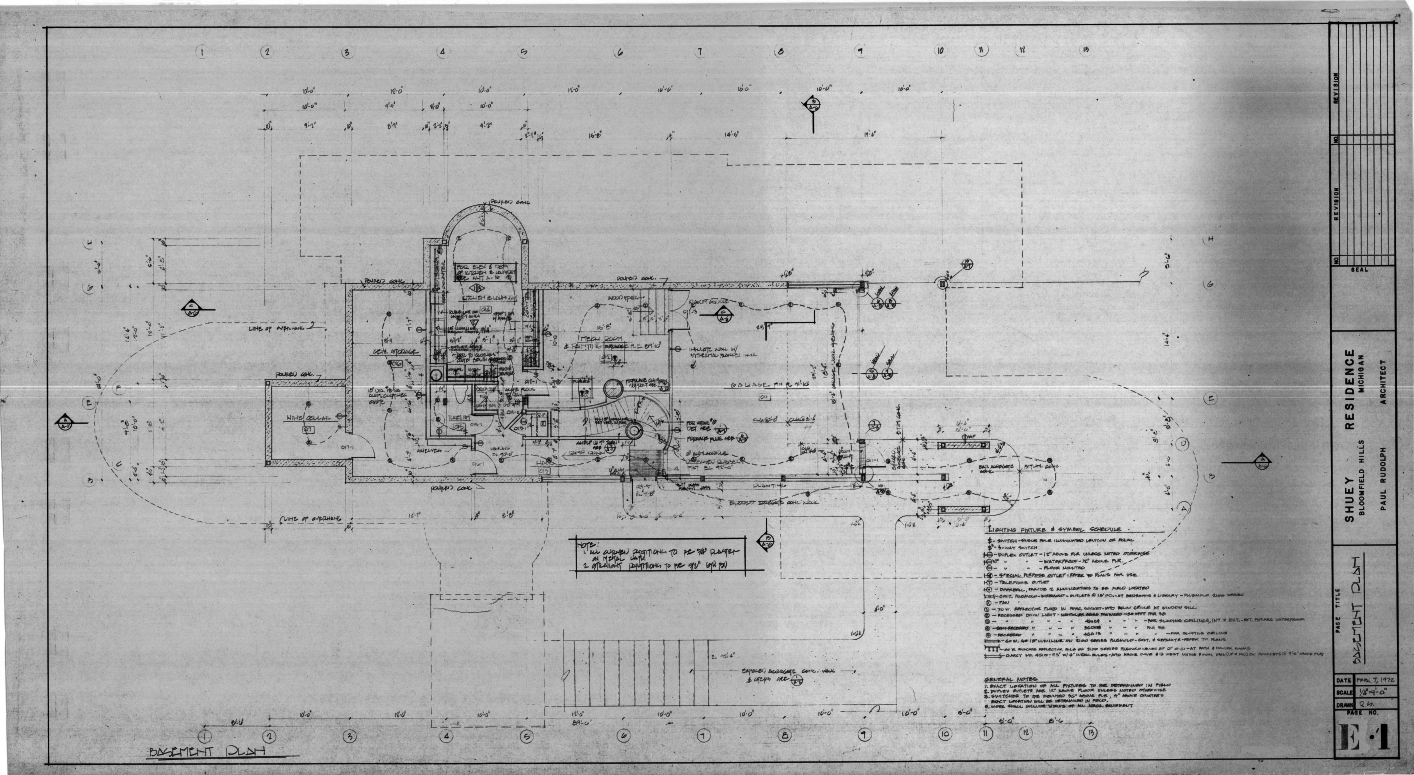 Dr. and Mrs. John M. Shuey Residence, Bloomfield Hills, Michigan.  Basement Electrical Plan, Sheet E-1.