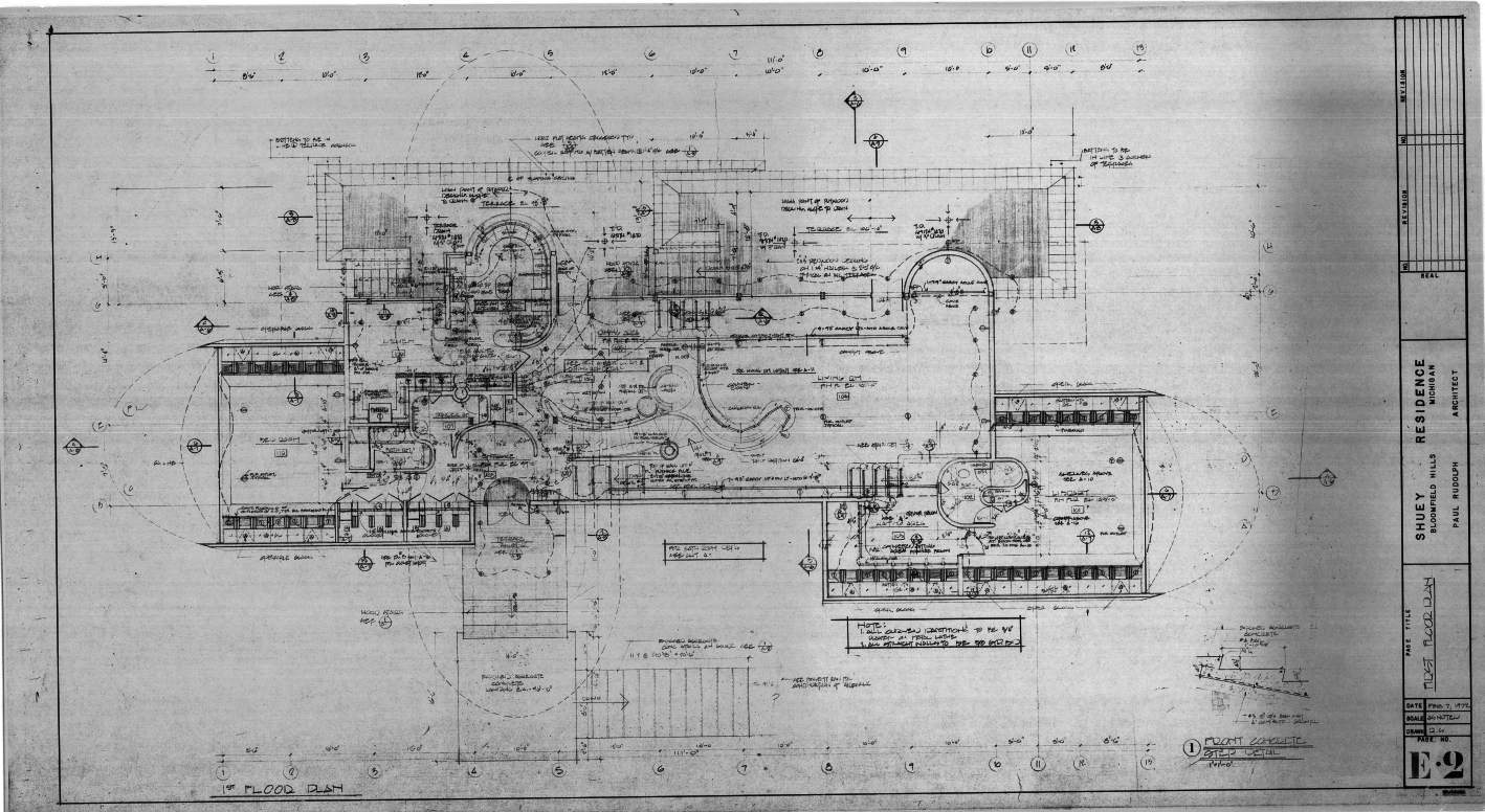 Dr. and Mrs. John M. Shuey Residence, Bloomfield Hills, Michigan.  First Floor Electrical Plan, Sheet E-2.