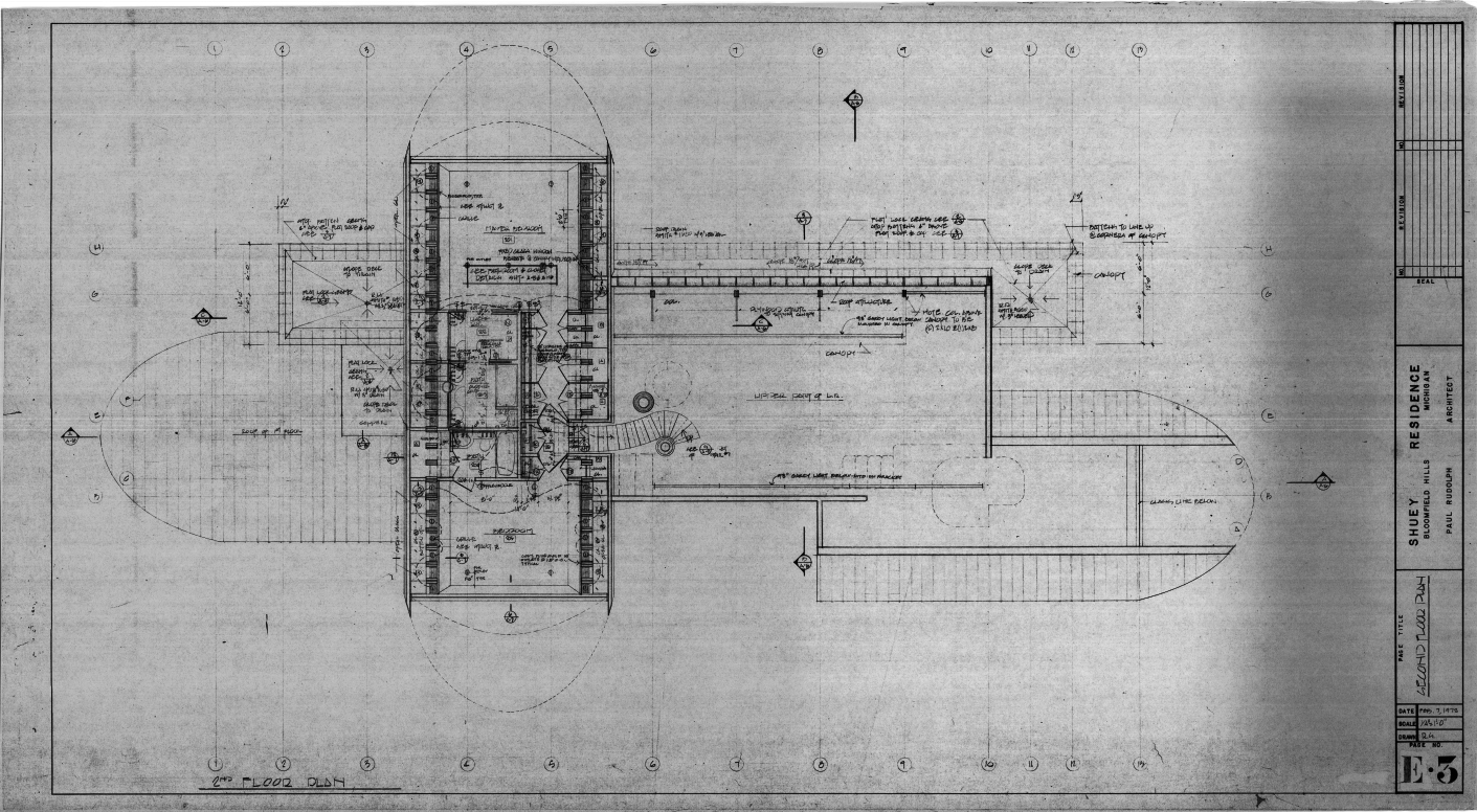 Dr. and Mrs. John M. Shuey Residence, Bloomfield Hills, Michigan.  Second Floor Electrical Plan, Sheet E-3.