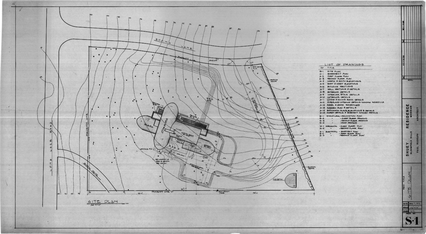 Dr. and Mrs. John M. Shuey Residence, Bloomfield Hills, Michigan.  Site Plan, Sheet S-1.