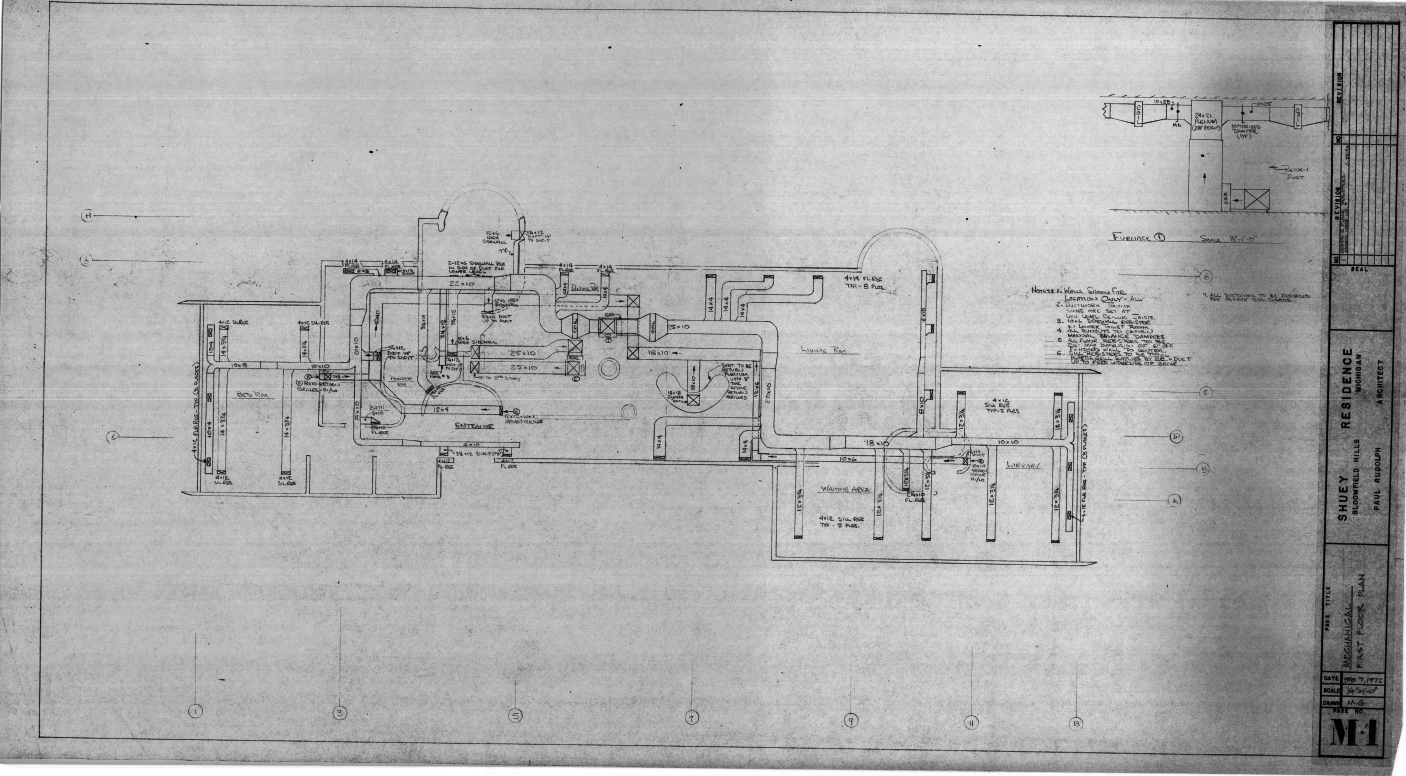 Dr. and Mrs. John M. Shuey Residence, Bloomfield Hills, Michigan.  First Floor Mechanical Plan, Sheet M-1.