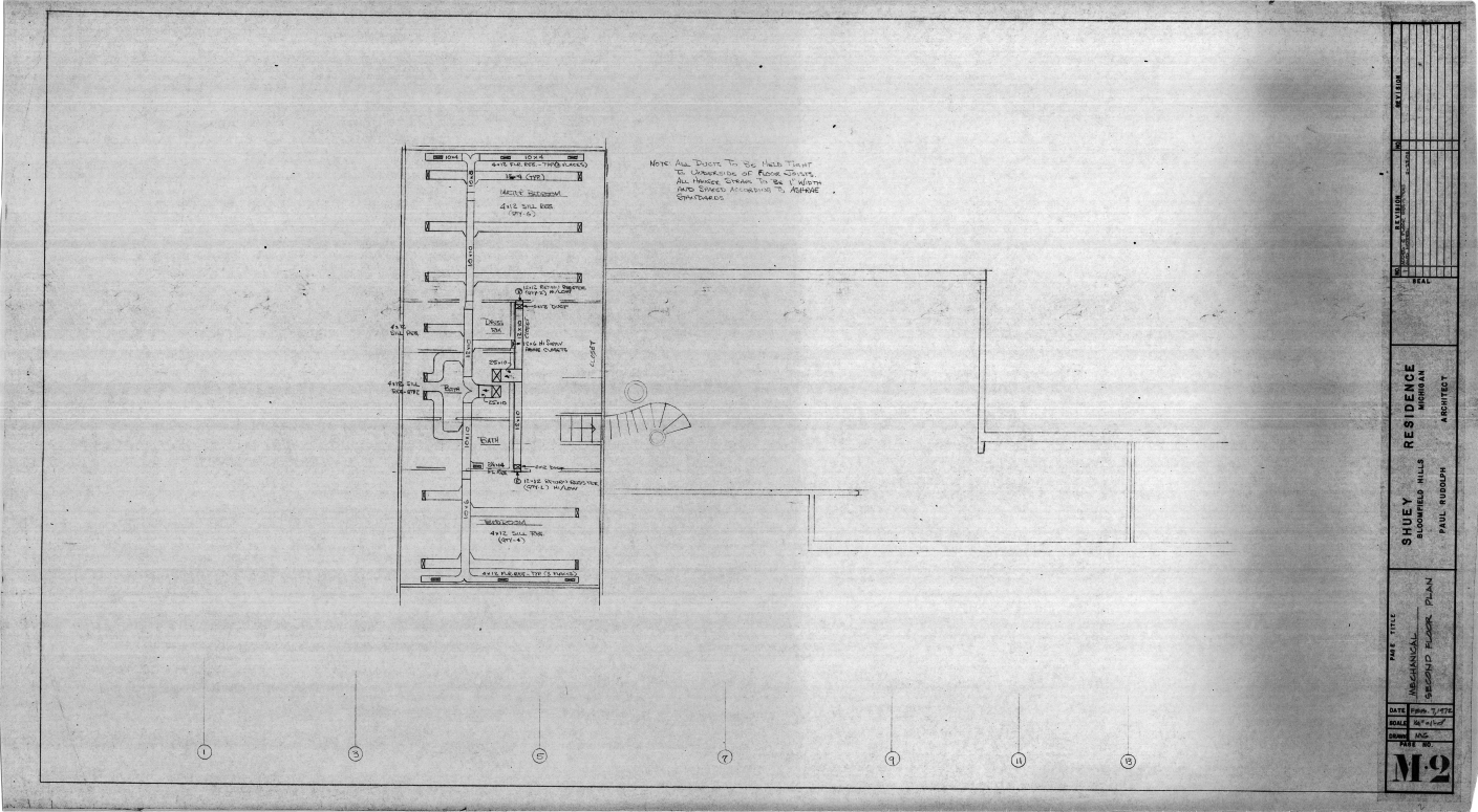 Dr. and Mrs. John M. Shuey Residence, Bloomfield Hills, Michigan.  Second Floor Mechanical Plan, Sheet M-2.