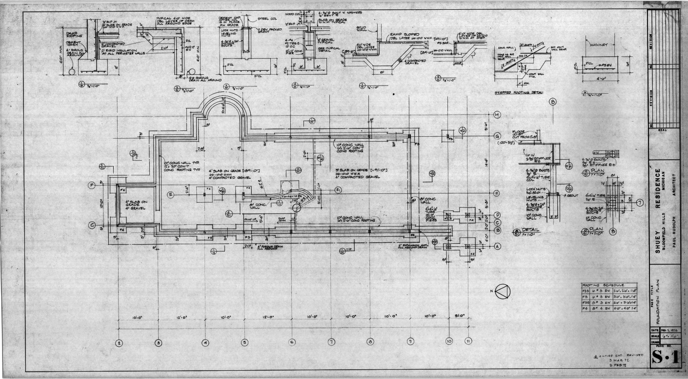 Dr. and Mrs. John M. Shuey Residence, Bloomfield Hills, Michigan.  Foundation Plan, Sheet S-1.