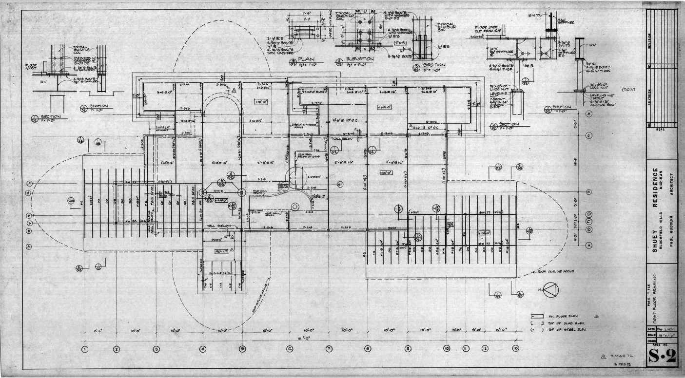 Dr. and Mrs. John M. Shuey Residence, Bloomfield Hills, Michigan.  First Floor Framing Plan, Sheet S-2.